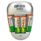 GP Rechargeable 4 x AA 2400mAh Batteries w/ AC Charger Set - Silver