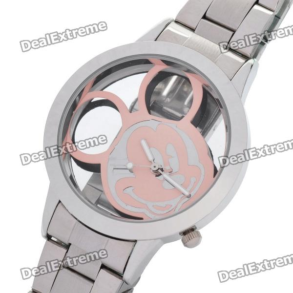 Cute Carved Mickey Mouse Style Dial Stainless Steel Wrist Watch - Pink + Silver (1 x 377)
