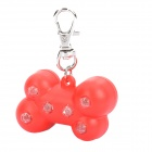 Cute Bone Pattern 6-LED Red Light Pet Collar Pendant Keychain - Random Color (3 x AG3)