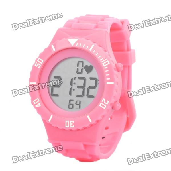 Stylish Digital Sports Heart Rate Monitor Wrist Watch - Pink (1 x CR2032)