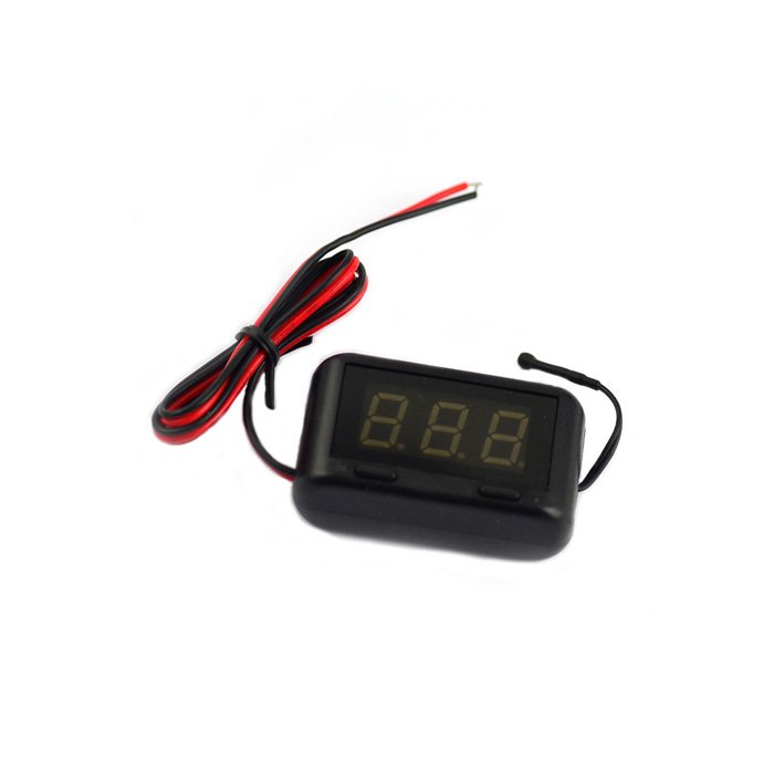 "1.2"" LCD Digital Thermometer + Voltmeter Voltage Meter for Vehicle Car - Black"