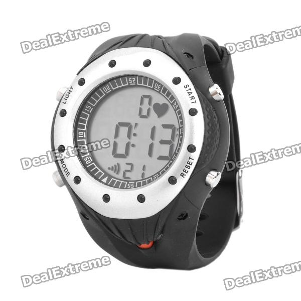 Stylish Digital Sports Heart Rate Monitor Wrist Watch - Black + Silver (1 x CR2032) sports wireless heart rate monitor digital watch black silver