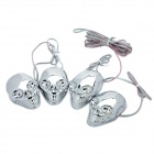 Cool Skull Style Blue/Red Light LED Decorative Lamp for Car / Motorcycles - Silver (4-Piece Pack)