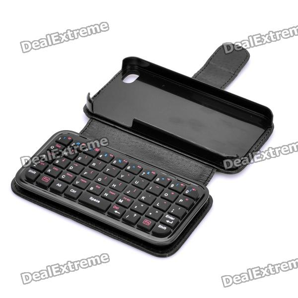 Mini Bluetooth V2.0 49-Key Keyboard Case w/ Back Holder for Iphone 4 / 4S - Black universal 61 key bluetooth keyboard w pu leather case for 7 8 tablet pc black