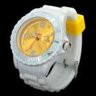 Designer's Sports Silicone Band Wrist Watch w/ Date - White + Yellow (1 x LR626)