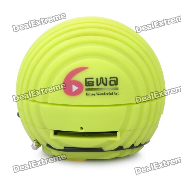 Mini Ball Style Rechargeable MP3 Player Speaker w/ SD Slot - Green