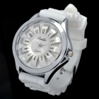 SANDA Sports Silicone Band Flower Dial Wrist Watch - White (1 x LR626)