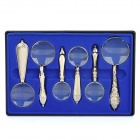 Classical handheld magnifier set - silver (6-piece pack)
