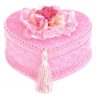 Cute Short Plush Heart Style Jewelry Box - Pink