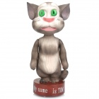 Cute Recording &amp; Repeating Talking Tom Cat Figure Doll Coin Bank - Light Grey + White (3 x AAA)