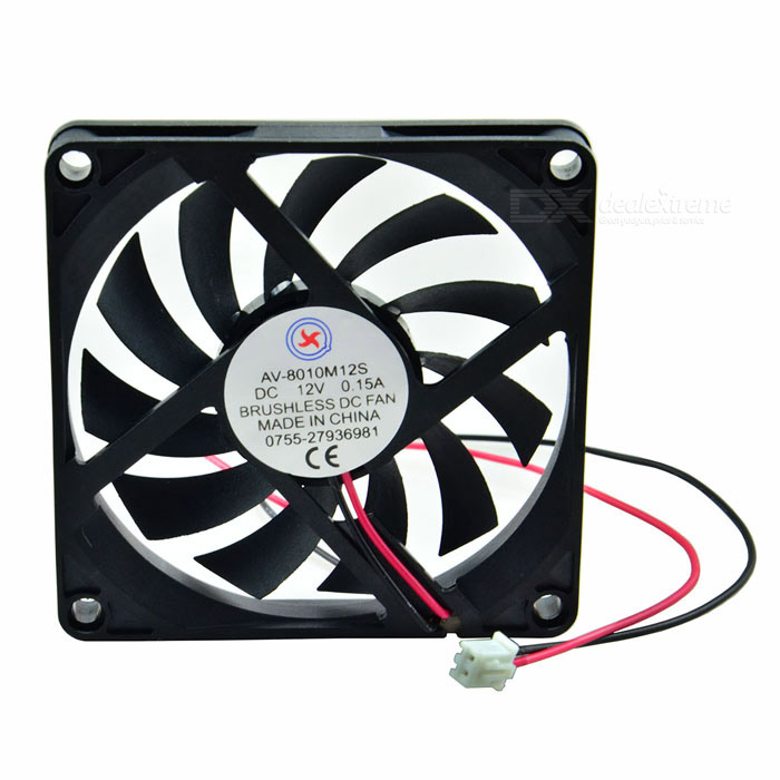 AV-8010M12S DC 12V 0.15A Brushless Cooling Fan (7.8cm-Diameter) 5010s dc 12v 0 1a brushless cooling fan 4 2cm diameter href