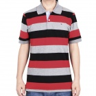 Fashion Horizontal Stripe Short Sleeves Polo Shirt T-Shirt for Men - Grey + Red + Grey (Size-XL)