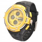 Sports Waterproof Dual Time Display Wrist Watch w/ Alarm / Stopwatch - Yellow + Black