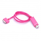 USB Charging / Data Cable w/ Blue Visible Light for iPhone / iPad / iPod - Deep Pink (78cm-Length)