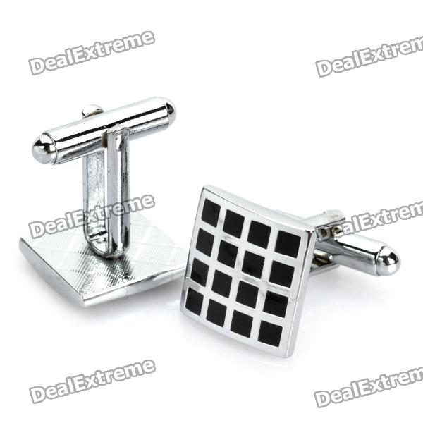 Charming Metal Apparel Button Cuff Links - Silver + Black (Pair)