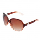 Stylish Lady's Round UV 400 Protection Sunglasses - Gradual Tan