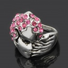 Cool Half Face Style Zinc Alloy Ring - Silver + Deep Pink