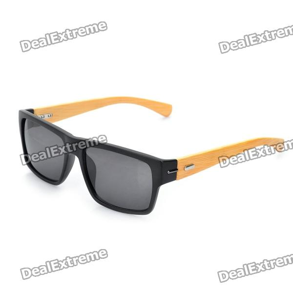 Stylish Bamboo Temple UV 400 Protection Sunglasses - Black + Wood 2kw 365nm uv lamp uv curing lacquer wood wood