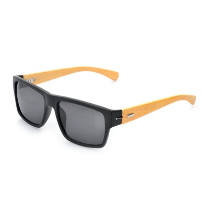 Stylish Bamboo Temple UV 400 Protection Sunglasses - Black + Wood