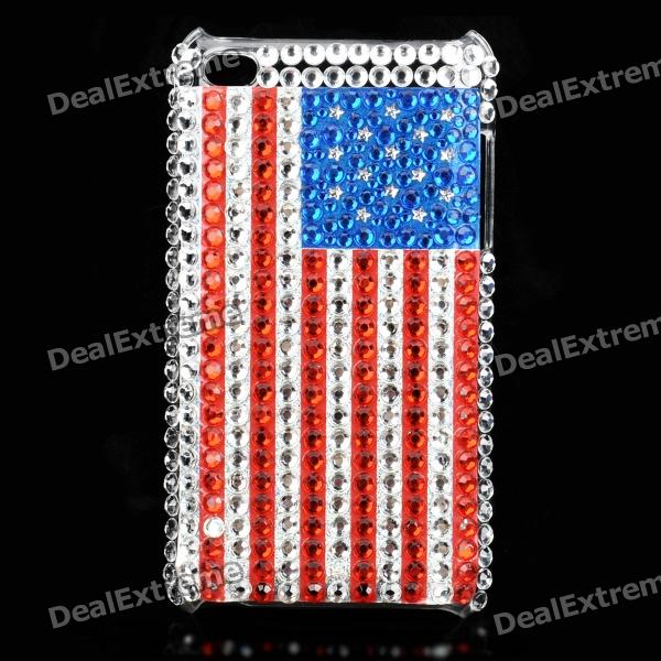 Acrylic Diamond Protective Plastic Case for   Ipod Touch 4 - Red + Silver + Blue