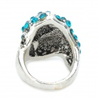 Half Face Style Zinc Alloy Rhinestone Finger Ring - Blue + Silver
