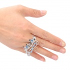 Fashion Compact 2-finger Ring - Blue + Silver
