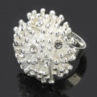 Elegant Flower Style Zinc Alloy Open Ring - Silver