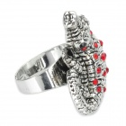 Cool Crocodile Style Rhinestone Zinc Alloy Finger Ring - Silver + Red