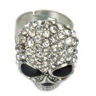 Cool Skeleton Style Rhinestone Zinc Alloy Finger Ring - Silver + Black