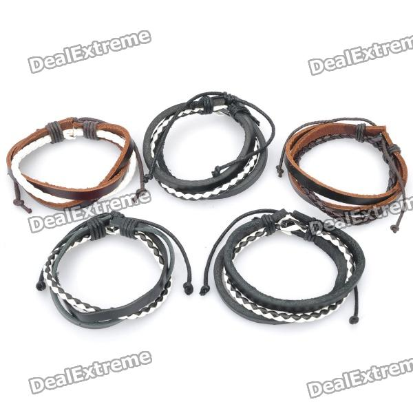 Stylish Leather Wristband Bracelet - Random Color (5-Piece Pack)