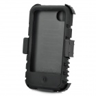 Protective Silicone Back Case w/ Swivel Clip-On Holder / Screen Guard for iPhone 4 / 4S - Black