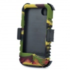 Protective Silicone Back Case w/ Swivel Clip-On Holder / Screen Guard for iPhone 4 / 4S - Camouflage