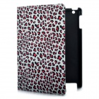 Fashion Leopard Print Protective PU Leather Case w/ Swivel ABS Back Holder for New Ipad - Red