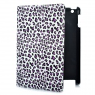 Fashion Leopard Print Protective PU Leather Case w/ Swivel ABS Back Holder for New iPad - Purple