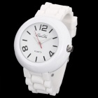 Fashion Round Shaped Soft Silicone Quartz Wrist Watch - White (1 x LR626)