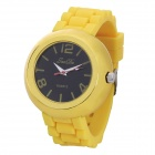 Fashion Round Shaped Soft Silicone Wrist Watch - Yellow (1 x LR626)