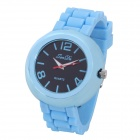 Fashion Round Shaped Soft Silicone Quartz Wrist Watch - Blue (1 x LR626)