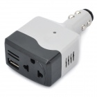 USB + 2-flat-pin AC Socket Car Charger Power Adapter