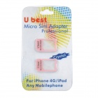Micro SIM Card to Standard SIM Card Adapters - Pink (Pair)