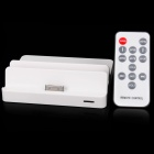 USB Charging Docking Station w/ AV-Out / AV Cable / Remote Controller for iPhone/iPad/iPod - White