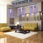 Modern Crystal Pendant Light with 3 Lights (Purple / AC 220-240V)