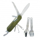 9-in-1 Portable Tool w/ Fork + Spoon + Wine Opener + Corkscrew + Knife + Saw + More - Army Green