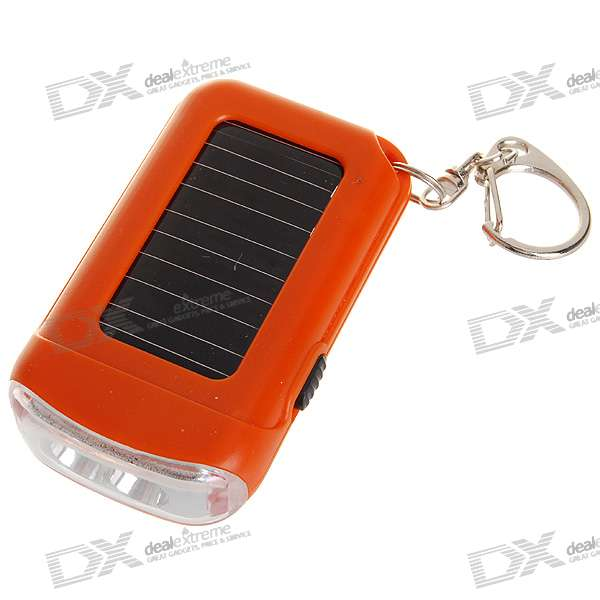 """Solar Powered"" 2-LED Flashlight Keychain"