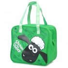 Cartoon Shaun the Sheep Pattern Canvas Bag - Green + Black + White