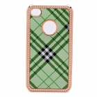 Protective PC Electroplating Cover Case for iPhone 4 / 4S - Golden + Green