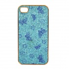 Stylish Butterfly Pattern Protective PC Back Case for iPhone 4 / 4S - Blue