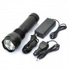 Rechargeable 24W 6000K 1400-Lumen HID Torch Flashlight - Black