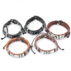 Fashion Punk Style Cowhide Leather Bracelet - Random Color (5-Piece)