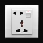 Wall Mount Power Socket with Switch - White