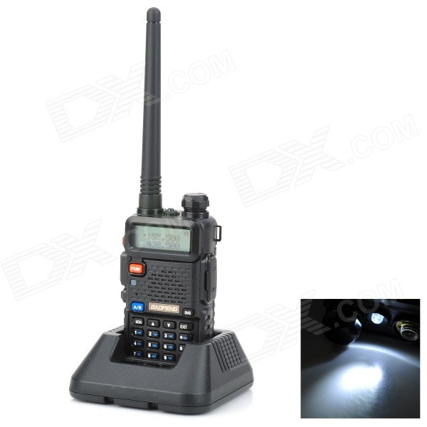 "BAOFENG UV5R 1.5"" LCD 5W 136~174MHz / 400~520MHz Dual Band Walkie Talkie w/ 1-LED Flashlight (Black)"